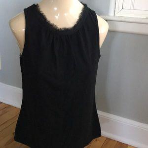 Isaac Mizrahi black raw neckline tank, medium